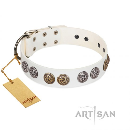 """White Moonlight"" FDT Artisan White Leather Rottweiler Collar with Elegant Decorations"