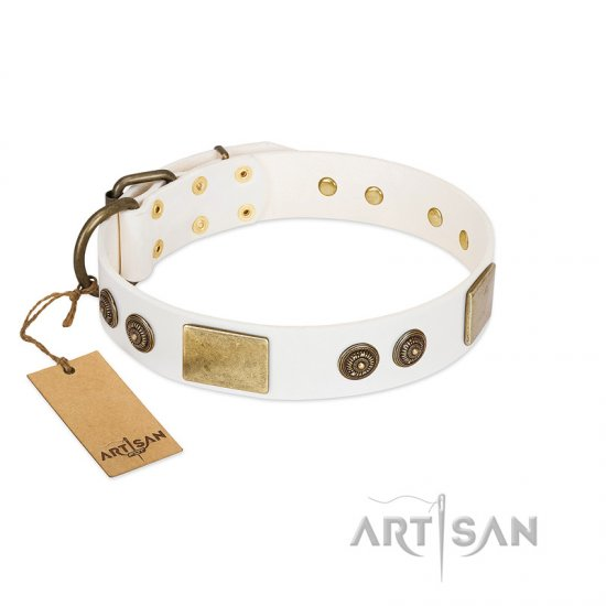 """Sweet Melody"" FDT Artisan White Leather Rottweiler Collar with Plates and Ornamented Studs"