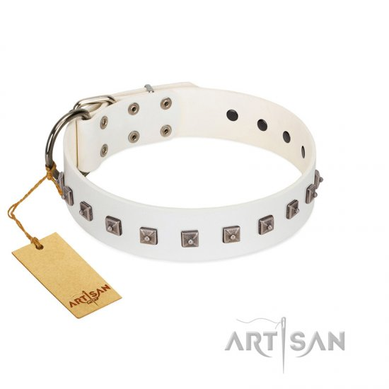 """True Grace"" Premium Quality FDT Artisan White Designer Leather Rottweiler Collar"