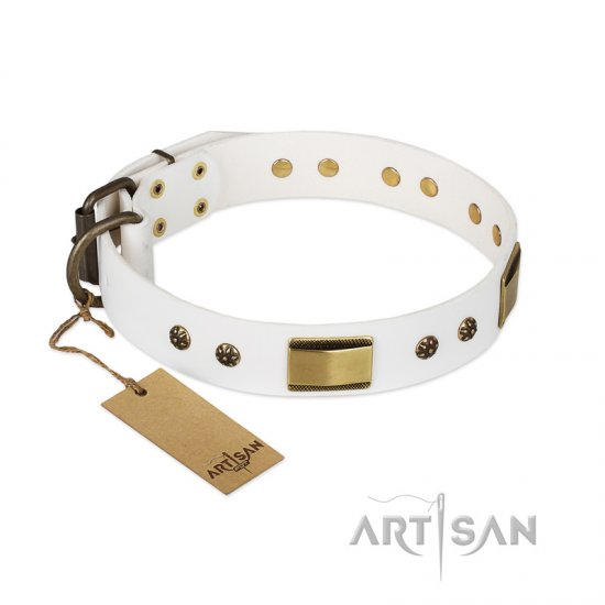 'Precious Necklace' FDT Artisan Rottweiler White Leather Dog Collar with Plates and Studs - 1 1/2 inch (40 mm) wide