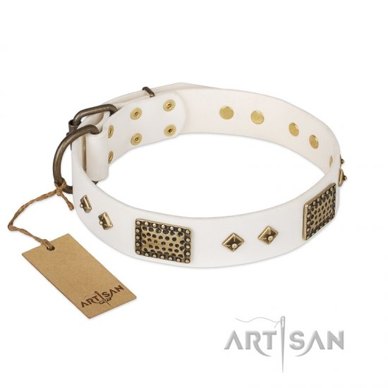 'Snow-covered Gold' FDT Artisan White Leather Rottweiler Collar - 1 1/2 inch (40mm) wide