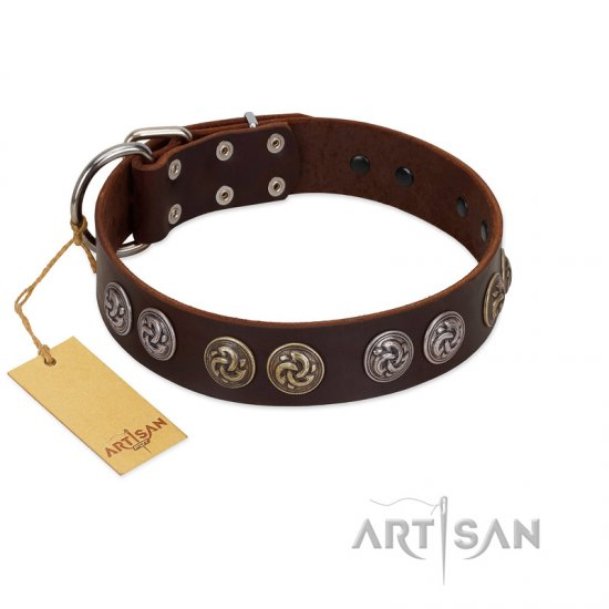 """Treasure Hunter"" FDT Artisan Brown Leather Rottweiler Collar with Old-Bronze-like and Silvery Medallions - Click Image to Close"