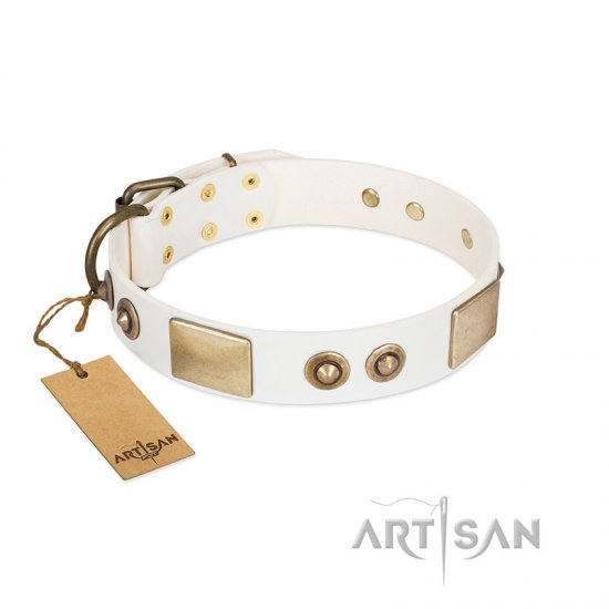 """Noble Impulse"" FDT Artisan White Leather Rottweiler Collar Adorned with Antique Plates and Studs"