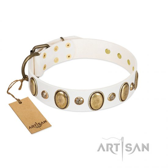 """Milky Lagoon"" FDT Artisan White Leather Rottweiler Collar with Vintage Looking Oval and Round Adornments"