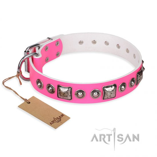 'Juicy Pink' Rottweiler Studded Leather Dog Collar with Decorations
