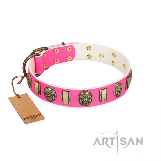 """Perilous Beauty"" Pink FDT Artisan Leather Rottweiler Collar with Small Plates and Skulls"