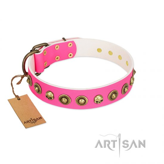 """Pawty Time"" FDT Artisan Pink Leather Rottweiler Collar with Decorative Skulls and Brooches"