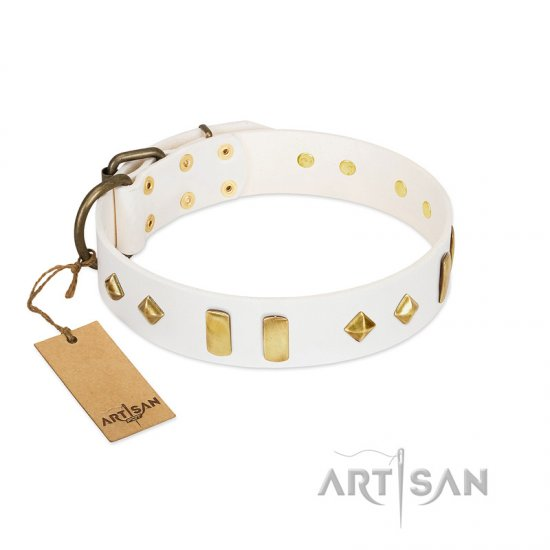 """Hella Cool"" FDT Artisan White Leather Rottweiler Collar Adorned with Plates and Rhombs - Click Image to Close"