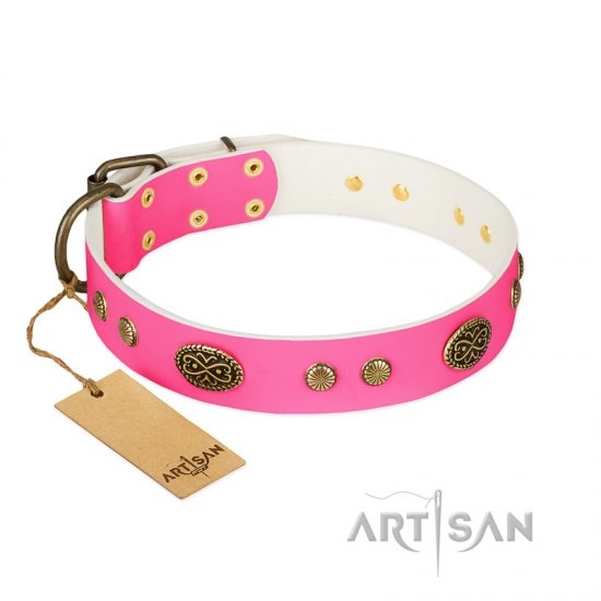 """Twinkle Pink"" FDT Artisan Pink Leather Rottweiler Collar with Old Bronze Look Plates and Circles"