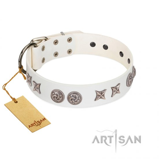 """Galaxy Hunter"" FDT Artisan White Leather Rottweiler Collar with Engraved Brooches and Stars"