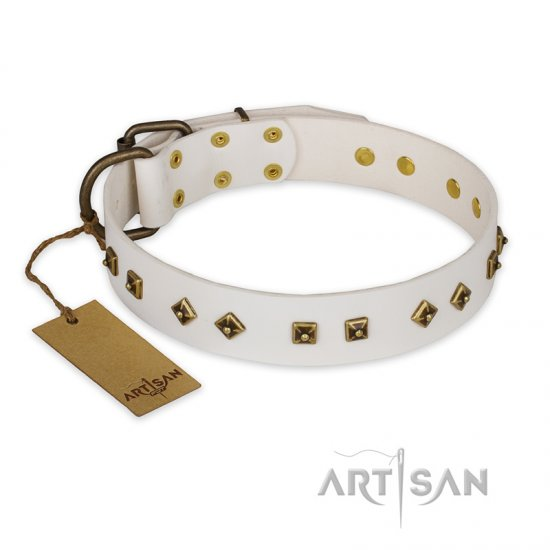 'Snow Cloud' FDT Artisan White Leather Rottweiler Collar with Square and Rhomb Studs