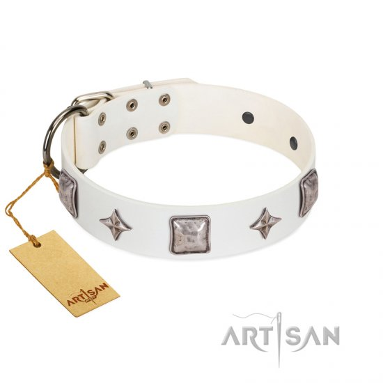 """Vanilla Ice"" FDT Artisan Handmade White Leather Rottweiler Collar with Silver-like Adornments"