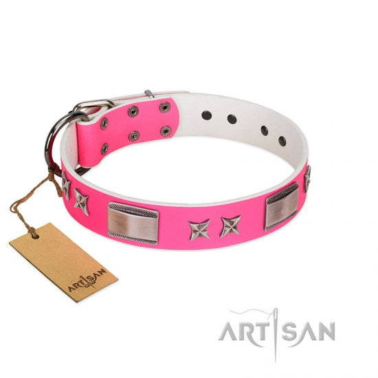 """Pinky Fantasy"" Pink FDT Artisan Leather Rottweiler Collar with Chrome-plated Stars and Large Plates"