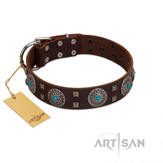"""Hypnotic Stones"" FDT Artisan Brown Leather Rottweiler Collar with Chrome Plated Brooches and Square Studs"