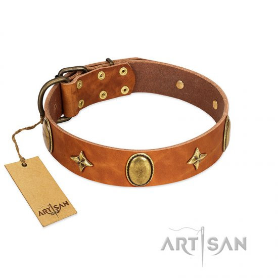 """Space Warrior"" FDT Artisan Tan Leather Rottweiler Collar with Ovals and Stars"