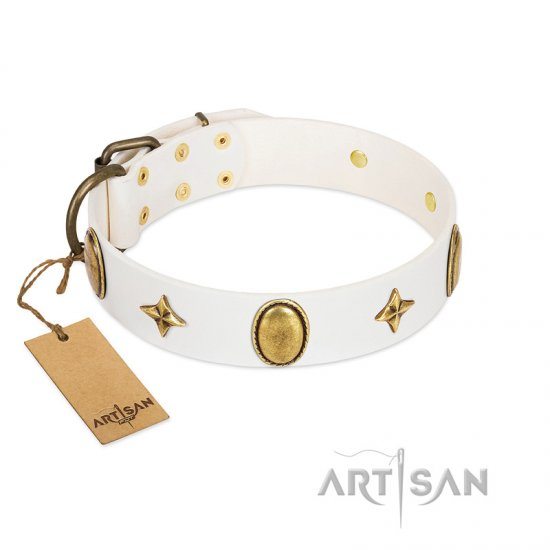 """Hollywood Star"" FDT Artisan White Leather Rottweiler Collar with Ovals and Stars - 1 1/2 inch Wide - Click Image to Close"