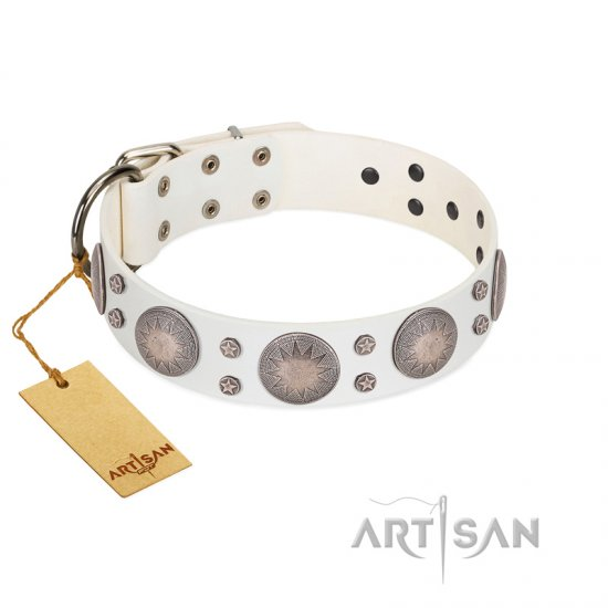 """Mystic Sunset"" Designer FDT Artisan White Leather Rottweiler Collar with Studs"