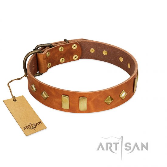 """Woofy Dawn"" FDT Artisan Tan Leather Rottweiler Collar with Plates and Rhombs - Click Image to Close"