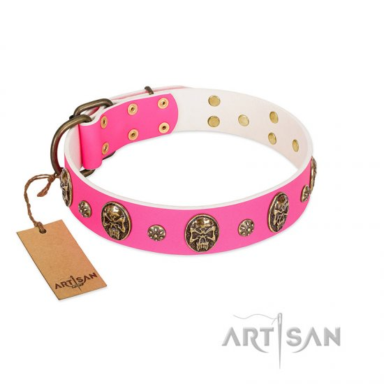 """Fashion Show"" FDT Artisan Pink Leather Rottweiler Collar with Old Bronze-like Skulls and Studs"