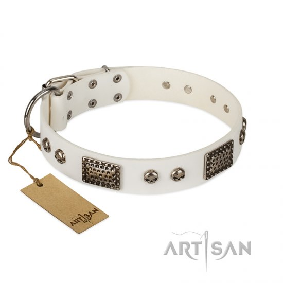 """Terrific Beauty"" FDT Artisan Beguiling White Leather Rottweiler Collar"