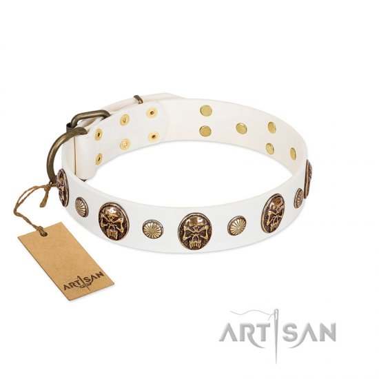 """Fatal Beauty"" FDT Artisan White Leather Rottweiler Collar with Old Bronze-like Studs and Oval Brooches"