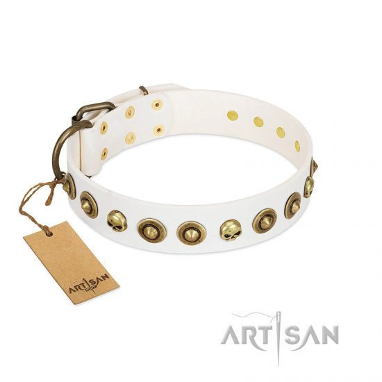 """Wondrous Venture"" FDT Artisan White Leather Rottweiler Collar with Skulls and Brooches"