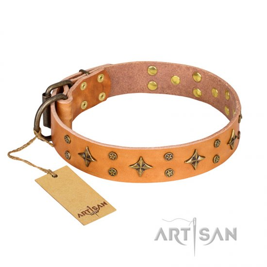 """Top-Flight"" FDT Artisan High-Quality Tan Leather Rottweiler Collar"