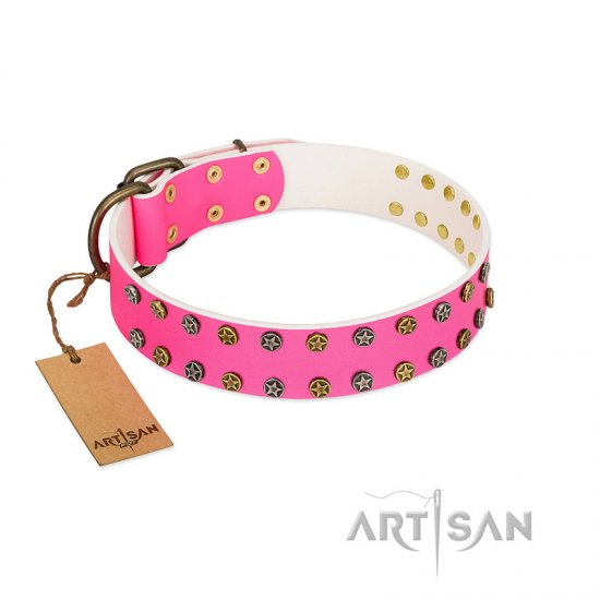 """Blushing Star"" FDT Artisan Pink Leather Rottweiler Collar with Two Rows of Small Studs"