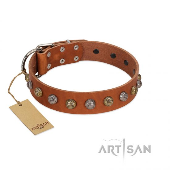 """Dogue-Vogue"" FDT Artisan Tan Leather Rottweiler Collar with Engraved Chrome-plated Studs"