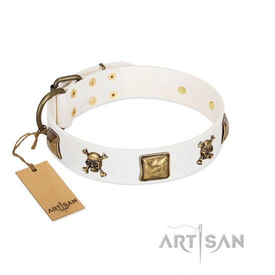 """Glo Up"" FDT Artisan White Leather Rottweiler Collar with Skulls and Crossbones Combined with Squares"