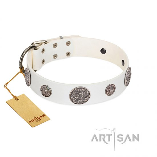"""Divine Nature"" FDT Artisan White Leather Rottweiler Collar with Chrome Plated Brooches"