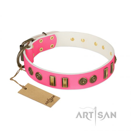 """Pink Amulet"" FDT Artisan Leather Rottweiler Collar with Old Bronze-like Plates and Circles"