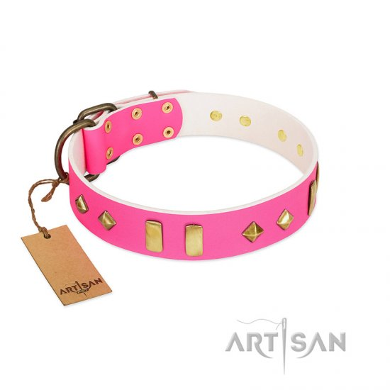 """Gentle Temptation"" FDT Artisan Pink Leather Rottweiler Collar with Goldish Plates and Studs - Click Image to Close"