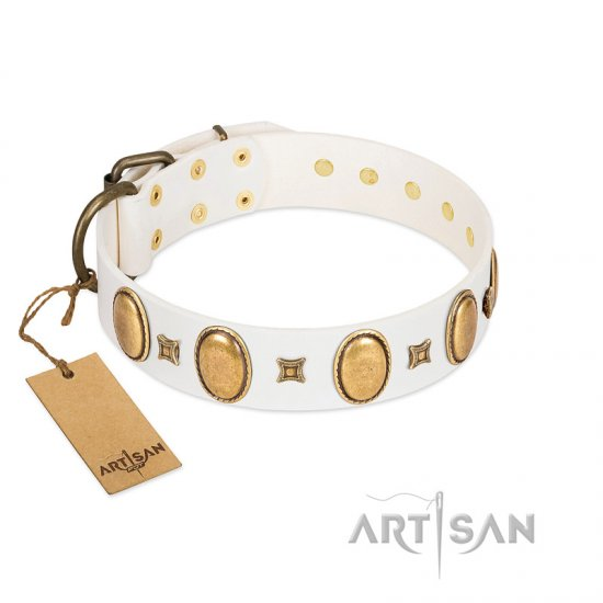 """Chichi Pearl"" Designer Handmade FDT Artisan White Leather Rottweiler Collar with Ovals and Studs"