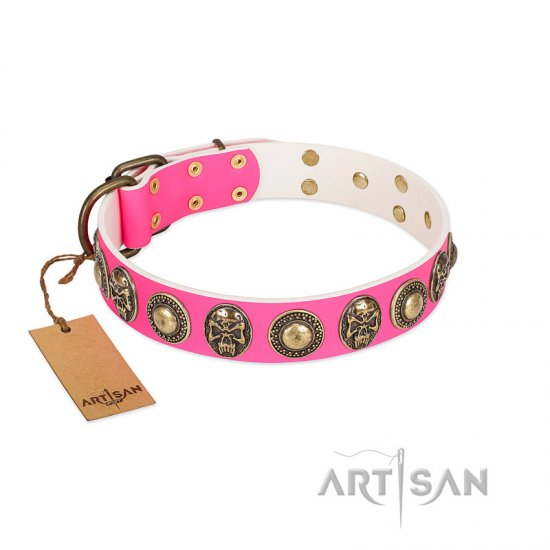 """Two Extremes"" FDT Artisan Pink Leather Rottweiler Collar with Elegant Conchos and Medallions with Skulls"