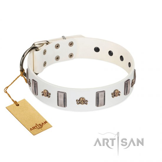 """Mysterious Voyage"" FDT Artisan White Leather Rottweiler Collar with Engraved Plates and Skulls"