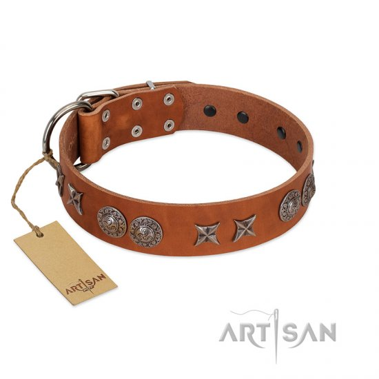 """Splendid Armor"" Premium Quality FDT Artisan Tan Designer Rottweiler Collar with Shields and Stars"