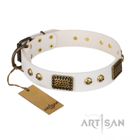 """Lost Treasures"" FDT Artisan White Leather Rottweiler Collar with Old Bronze Look Plates and Skulls"