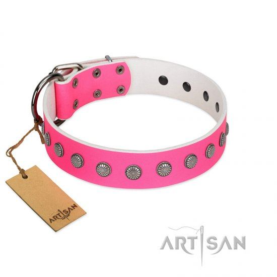 """Florescence"" Ultramodern FDT Artisan Pink Leather Rottweiler Collar Decorated with Silver-Like Studs"