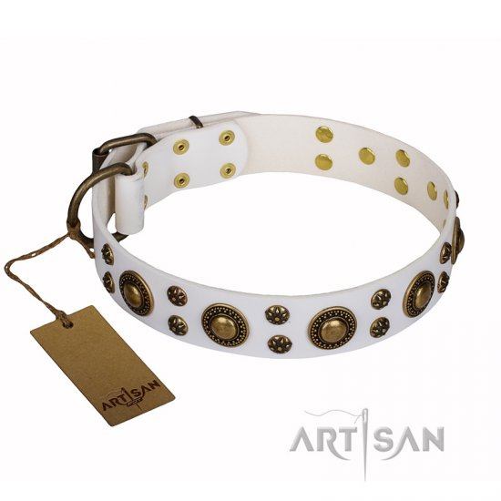 'White Gentle Feather' FDT Artisan Genuine Leather Collar with Old-bronze Plated Decorations for Rottweiler