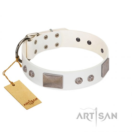 """Northen Lights"" FDT Artisan White Leather Rottweiler Collar with Massive Plates and Pyramids"