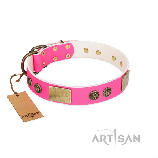"""Queen's Whim"" FDT Artisan Fancy Walking Pink Leather Rottweiler Collar Adorned with Old Bronze-like Plates and Studs"