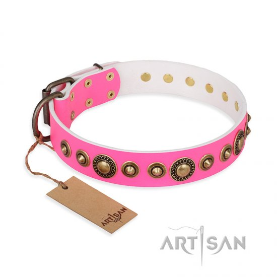 'Pink Gloss' Leather Rottweiler Collar with Old Bronze-like Plated Circles and Studs 1 1/2 inch (40 mm) Wide