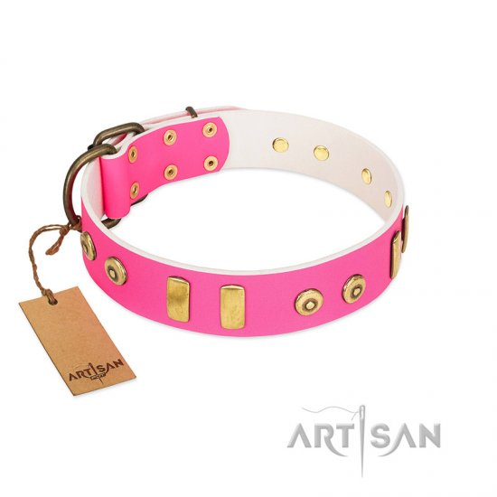 """Prim'N'Proper"" Handmade FDT Artisan Pink Leather Rottweiler Collar with Old Bronze-like Dotted Studs and Tiles"