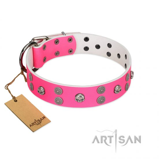 """Spiffy Style"" Handcrafted FDT Artisan Pink Leather Rottweiler Collar with Skulls"