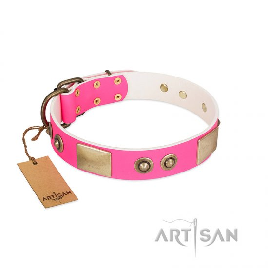 """Pink Splash"" FDT Artisan Soft Leather Rottweiler Collar with Bronze-like Plates and Medallions"