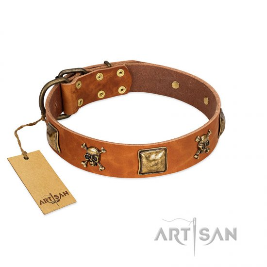 """Knights Templar"" FDT Artisan Tan Leather Rottweiler Collar with Skulls and Crossbones Combined with Squares"