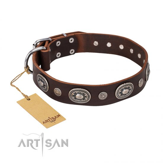 'Extra Pizzazz' FDT Artisan Adorned Brown Leather Rottweiler Collar