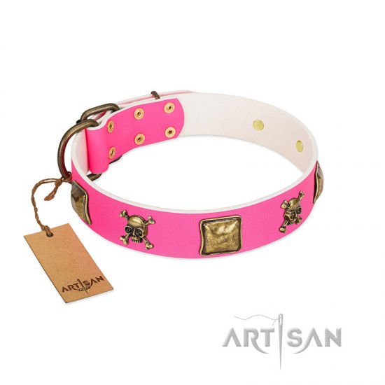 """Wild and Free"" FDT Artisan Pink Leather Rottweiler Collar with Skulls and Crossbones Combined with Squares"