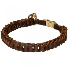 Braided Leather Choke Rottweiler Collar for Effective Training and Behavior Correction